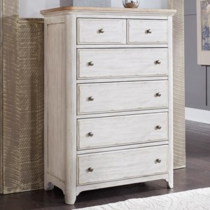 Relaxed Vintage 5 Drawer Chest with Cedar Lined Bottom Drawers