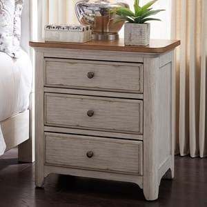 Relaxed Vintage 3 Drawer Night Stand with Charging Station