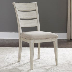 Relaxed Vintage Upholstered Ladder Back Side Chair