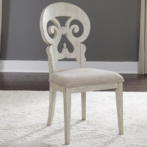 Relaxed Vintage Upholstered Splat Back Side Chair
