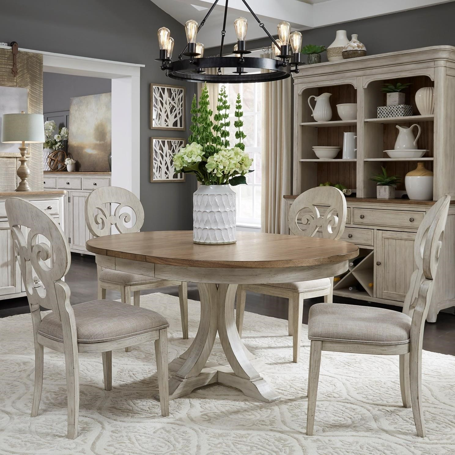 Farmhouse Reimagined 5-Piece Table and Chair Set by Libby at Walker's Furniture