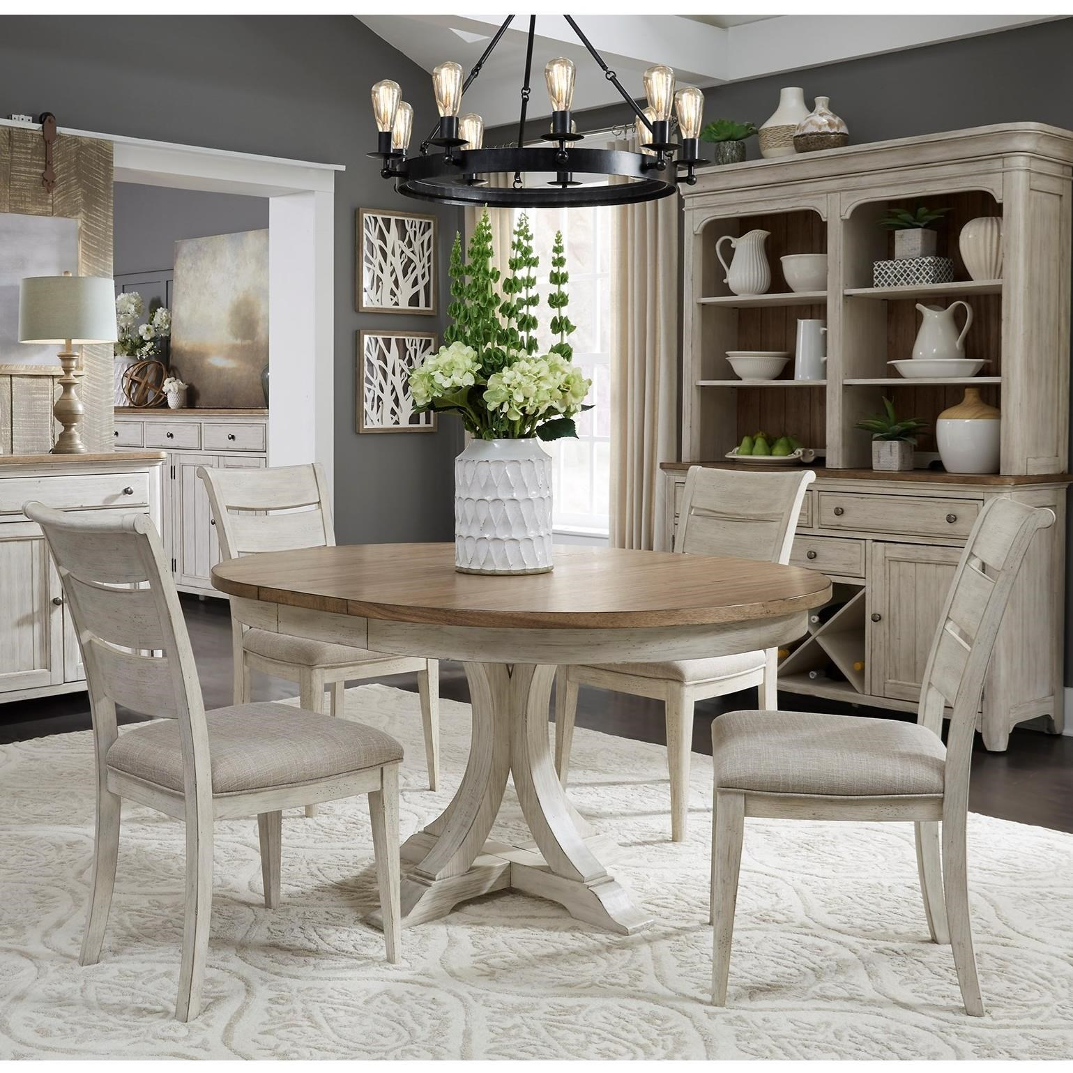 Farmhouse Reimagined 5-Piece Pedestal Table Set  by Libby at Walker's Furniture