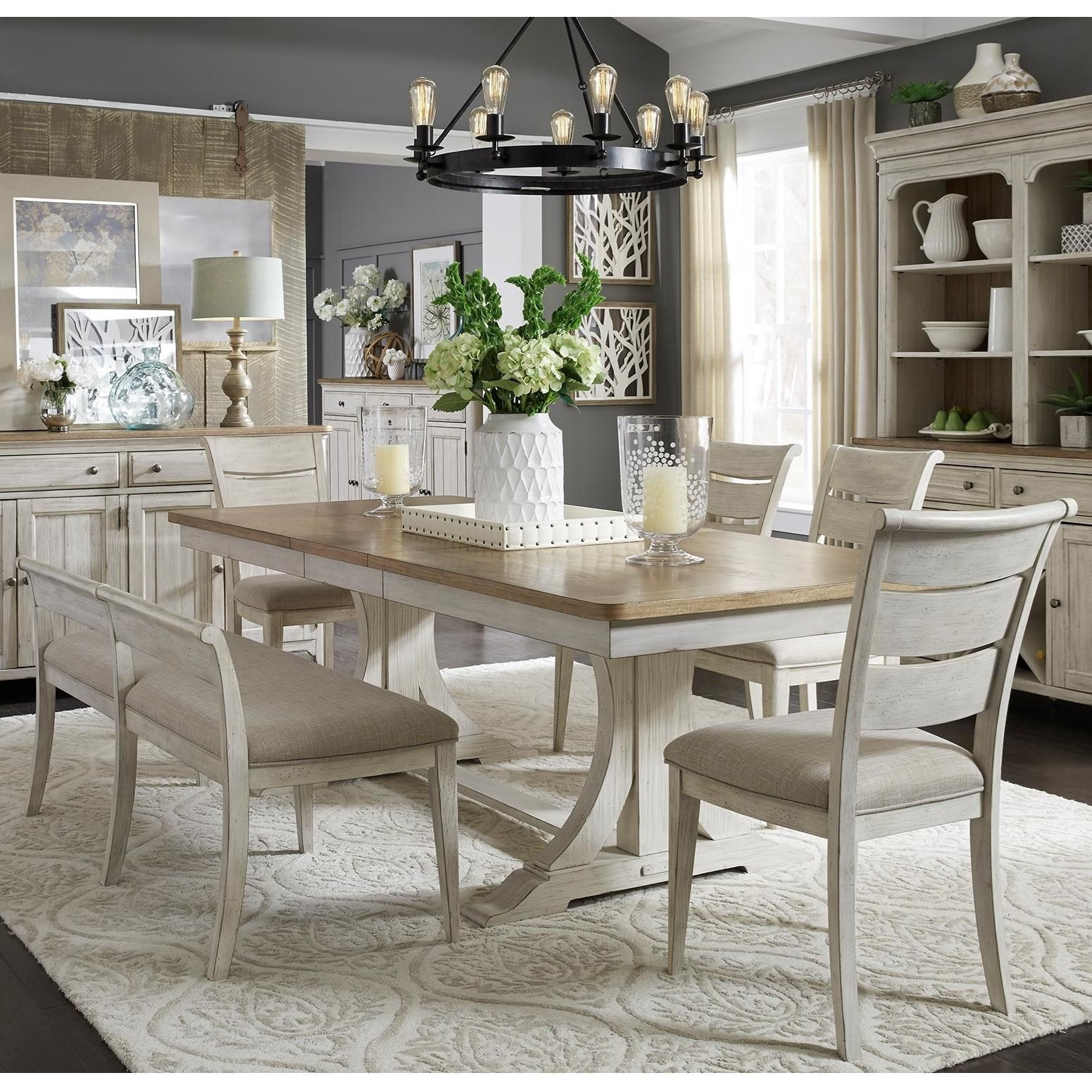 Farmhouse Reimagined 6-Piece Trestle Table Set by Liberty Furniture at Dinette Depot