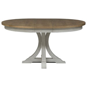 "Relaxed Vintage Pedestal Table with 12"" Removable Leaf"