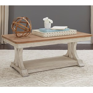 Relaxed Vintage Rectangular Cocktail Table with Bottom Shelf