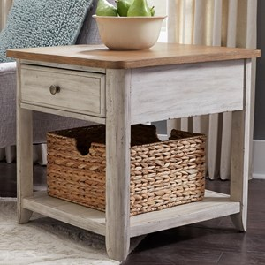 Relaxed Vintage 1 Drawer End Table with Basket