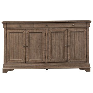 Transitional 4 Door Accent Cabinet with Distressed Finish