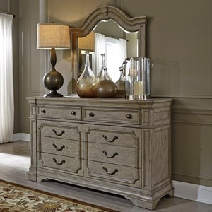 Traditional 8 Drawer Dresser with Felt Lined Top Drawers and Mirror