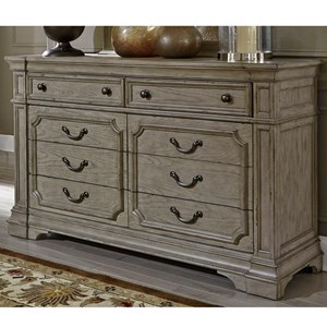 Traditional 8 Drawer Dresser with Felt Lined Top Drawers