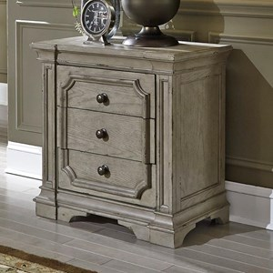 Traditional 3 Drawer Nightstand with Built in Charging Station