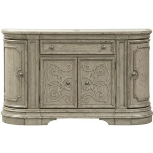 Tradtional Four Door Buffet with Travertine Marble Inserts