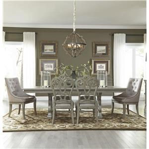 Trestle Table with 4 Side Chairs and 2 Host Chairs