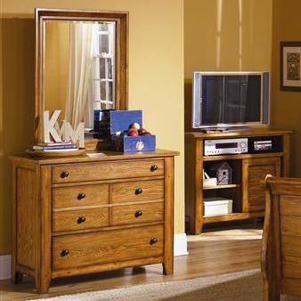 Grandpa's Cabin Three Drawer Dresser and Mirror by Libby at Walker's Furniture