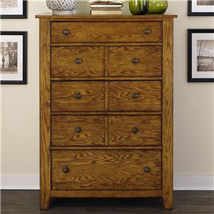 5 Drawer Chest with Wood and Peg Accents