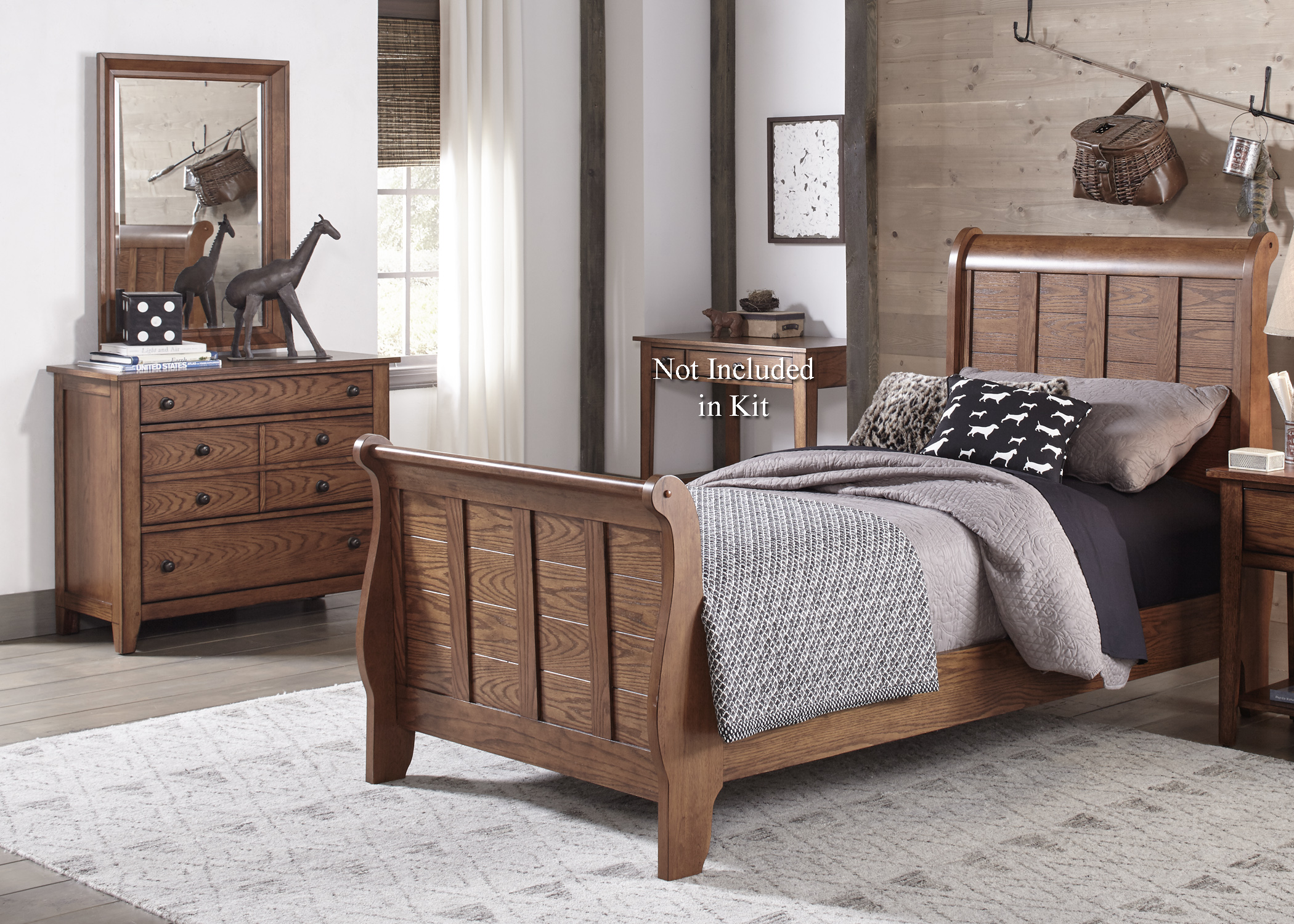 Grandpa's Cabin Twin Sleigh Bed, Dresser & Mirror by Liberty Furniture at Northeast Factory Direct