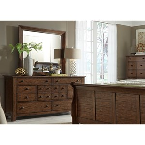 Dresser and Mirror Set with 7 Drawers