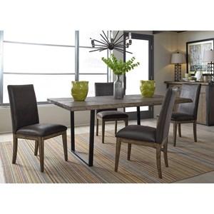 5 Piece Modern Rustic Trestle Table Set