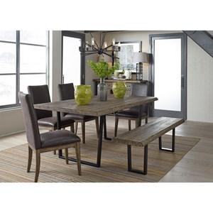 6 Piece Modern Rustic Trestle Table Set
