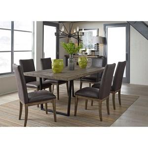 7 Piece Modern Rustic Trestle Table Set