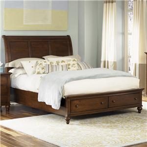 Transitional King Sleigh Bed with 2 Drawer Storage Footboard