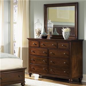 Transitional 9 Drawer Dresser & Landscape Mirror