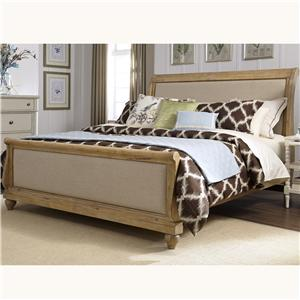 King Sleigh Bed with Linen Insert Panels