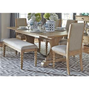 Trestle Table and 4 Upholstered Side Chairs and Dining Bench Set