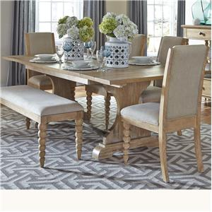 Trestle Dining Table with 2 Nine Inch Leaves