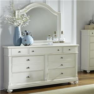 Dresser with 7 Drawers and Arched Mirror