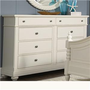 Dresser with 8 Drawers and Bun Feet