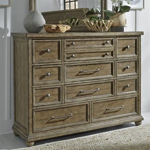 Relaxed Vintage 11 Drawer Dresser with Felt Lined Top Drawers