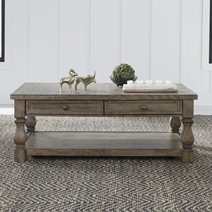 Relaxed Vintage Cocktail Table with 2 Drawers