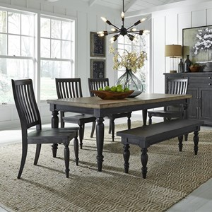 Relaxed Vintage 6-Piece Rectangular Table Set