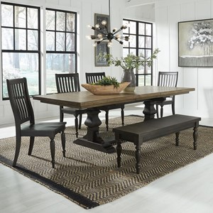 Relaxed Vintage 6-Piece Trestle Table Set