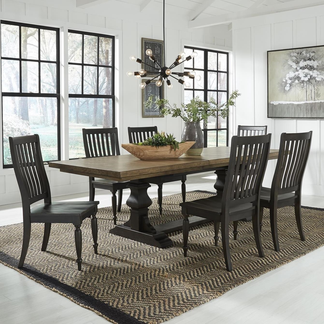 Harvest Home 7-Piece Trestle Table Set by Freedom Furniture at Ruby Gordon Home
