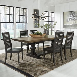 Relaxed Vintage 7-Piece Trestle Table Set