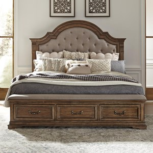 Traditional Queen Upholstered Storage Bed