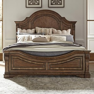 Traditional King Panel Bed with Arched Headboard