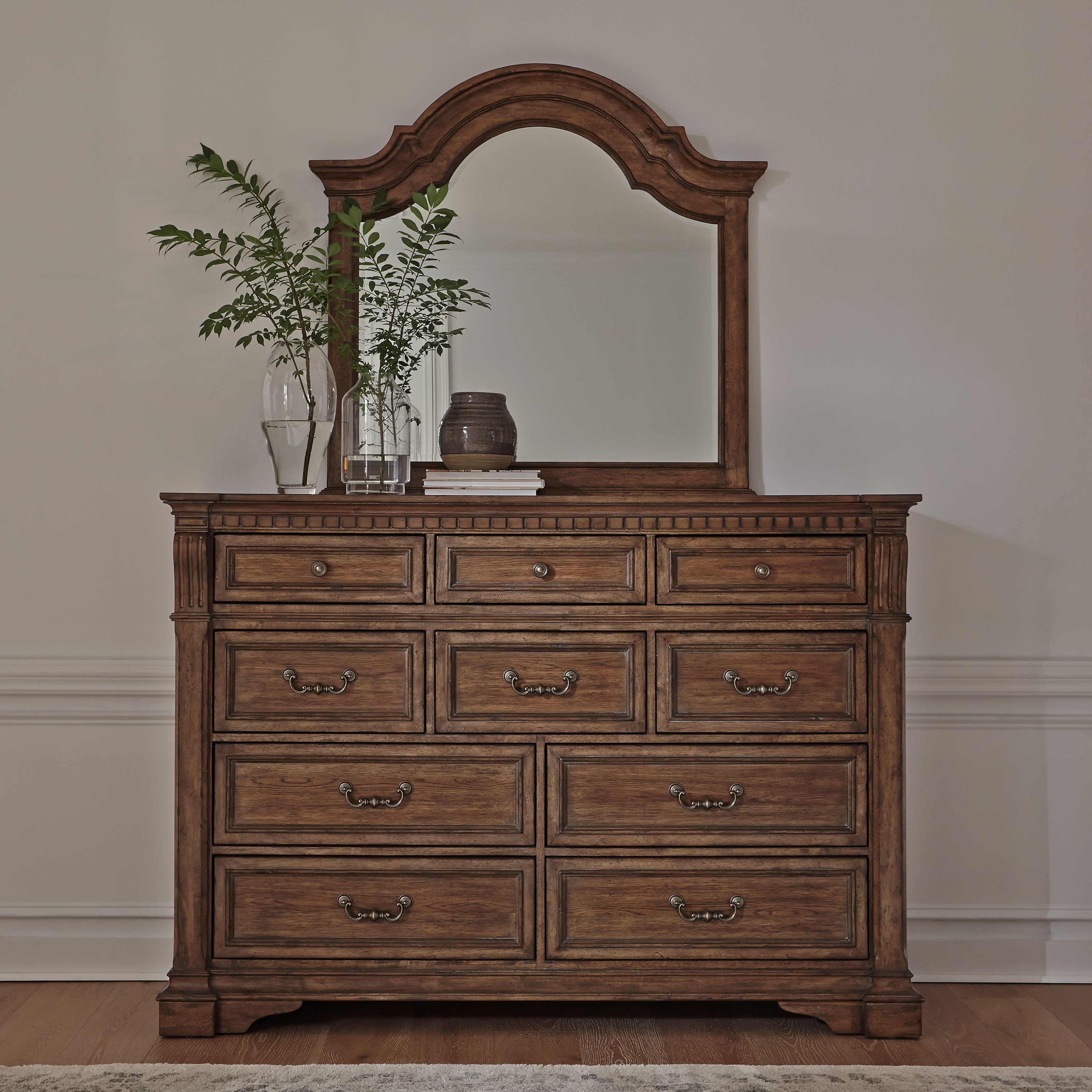 Haven Hall 10-Drawer Dresser and Arched Mirror Set by Libby at Walker's Furniture