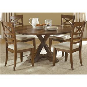 Liberty Furniture Hearthstone 5 Piece Pedestal Table Set