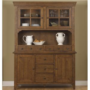 Mission Style Buffet with China Hutch