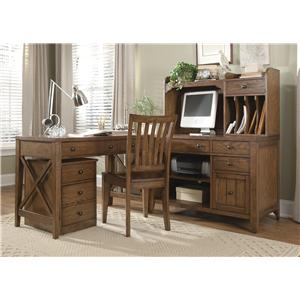 5 Piece L-Shaped Desk and File Cabinet Unit