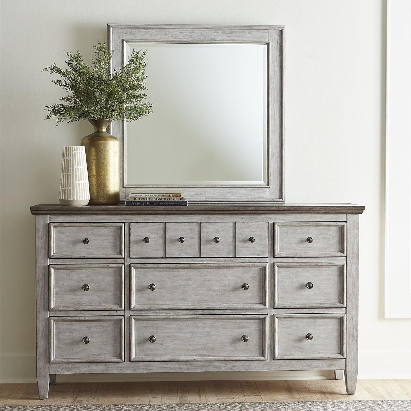 Heartland 9 Drawer Dresser and Mirror by Liberty Furniture at Northeast Factory Direct