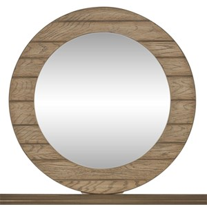 Transitional Round Mirror with Paneled Frame