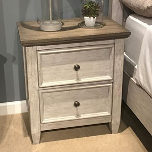 2 Drawer Nightstand with Charging Station