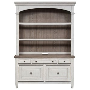 Transitional Credenza & Hutch with Touch Lighting