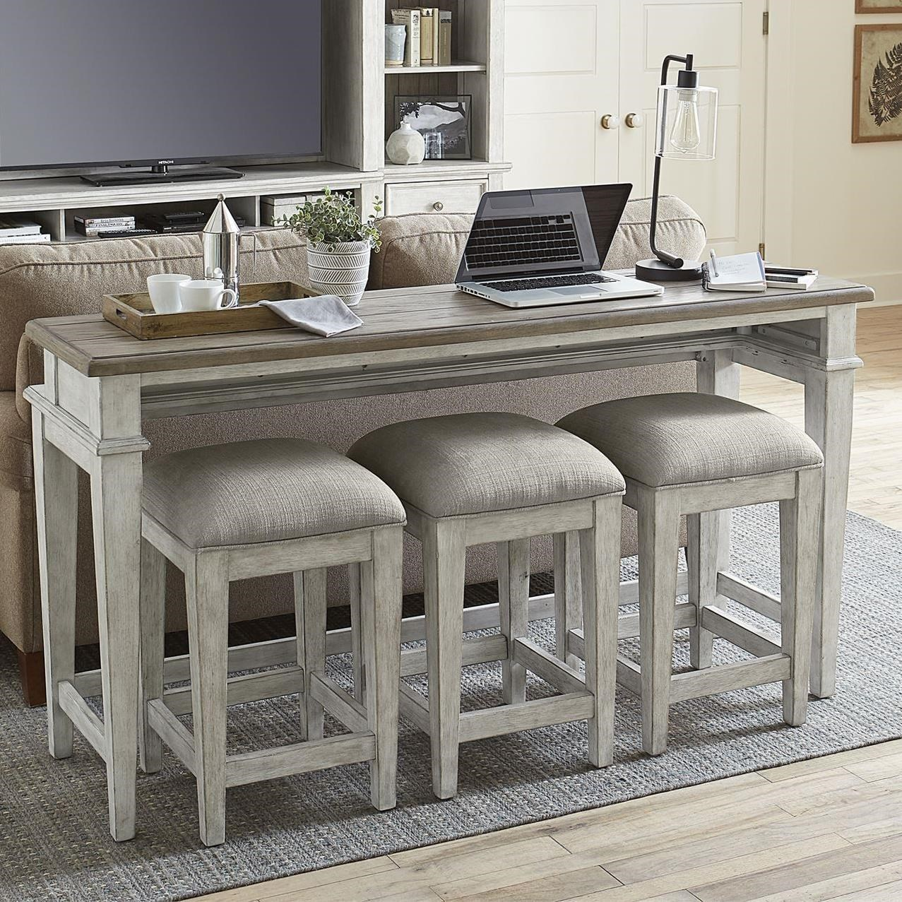 Heartland 4-Piece Console Bar Table Set by Liberty Furniture at Johnny Janosik