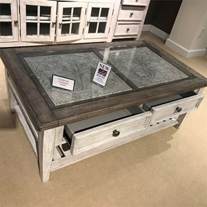 Transitional Rectangular Ceiling Tile Cocktail Table