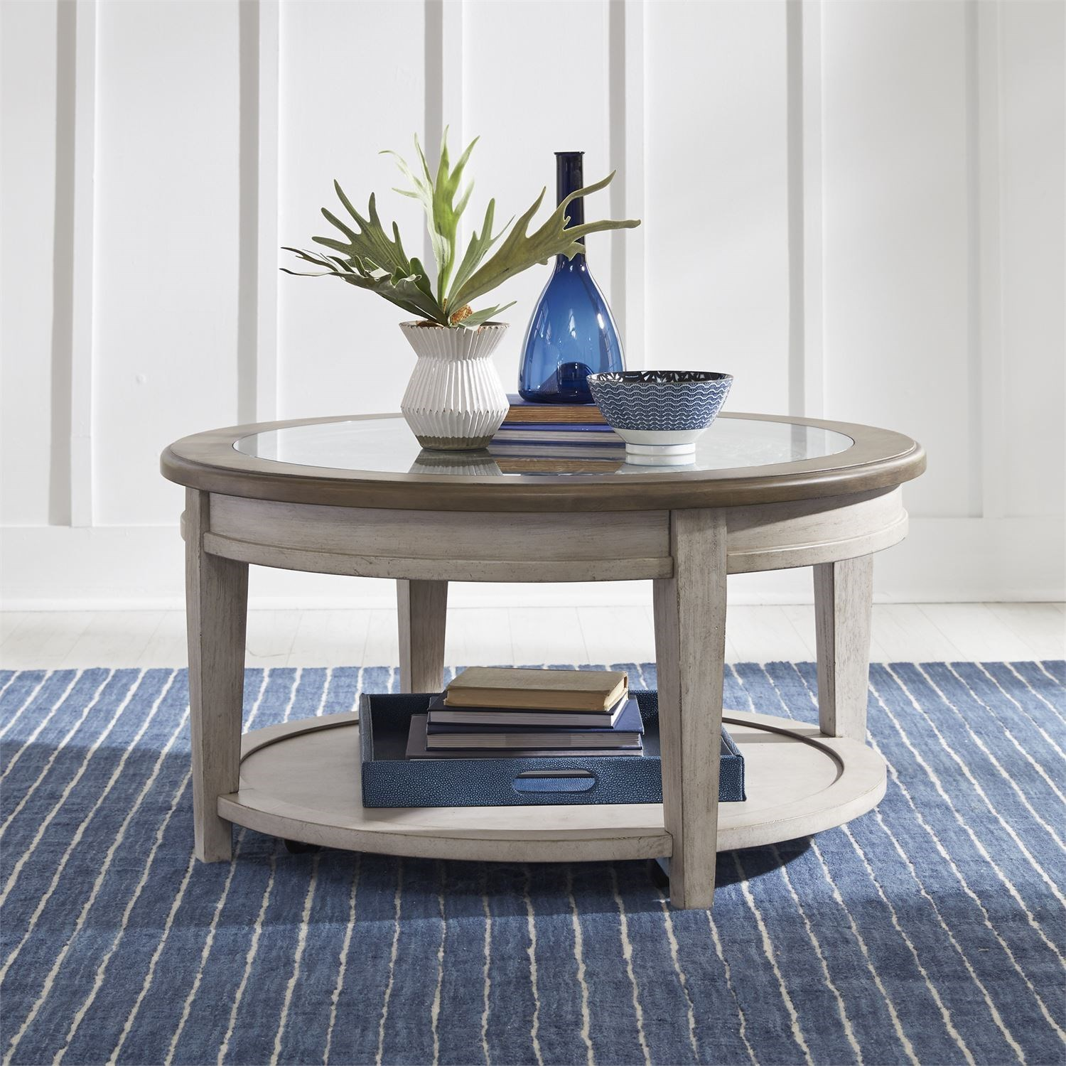 Heartland Round Ceiling Tile Cocktail Table by Liberty Furniture at Northeast Factory Direct