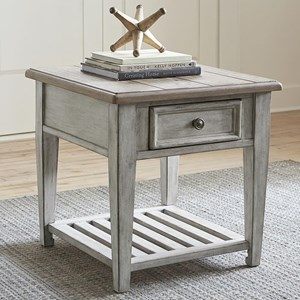 Transitional Drawer End Table